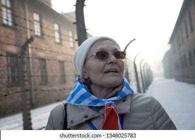 Auschwitz-Birkenau, Poland - 27 January 2017: 72 th Anniversary of the Liberation of Auschwitz, former prisoner of Auschwitz-Birkenau