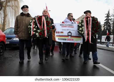 Auschwitz-Birkenau, Poland -27 January 2019:Piotr Rybak during the march of remembrance of Polish victims of the German Auschwitz camp organized during 74 th Anniversary of the Liberation of Auschwitz