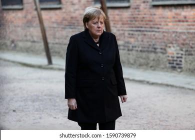 Auschwitz-Birkenau, Poland- 6 December 2019: visit of the chancellor Angela Merkel, German politician in Auschwitz- Birkenau German concentration camp. Portrait of Angela Merkel