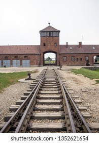 Auschwitz-Birkenau, Poland - August 1, 2017: Stable access with tracks to the prison camp and extermination