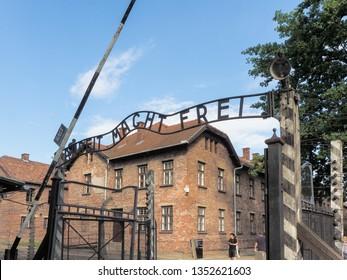 Auschwitz-Birkenau, Poland - July 31, 2017: Entrance of the prison camp