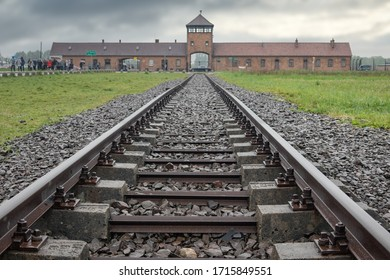 Auschwitz-Birkenau, Poland - May 15, 2019: Railway to WW2 nazi concentration and extermination camp Auschwitz-Birkenau in Poland