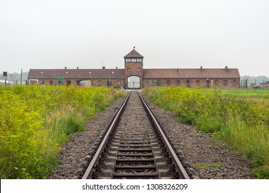 Auschwitz-Birkenau, Poland: Stable access with tracks to the prison camp and extermination