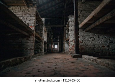 Auschwitz-Birkenau, Poland/February 10, 2019 ; Barak for mothers with children in the Auschwitz - Birkenau concentration camp. Prison lanes for children.The interior of the building in the camp.