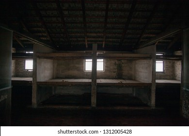 Auschwitz-Birkenau, Poland/February 10, 2019 ;Bunks of prisoners in the barracks of the concentration camp. A building with prisoners' beds. Bedroom of the concentration camp.