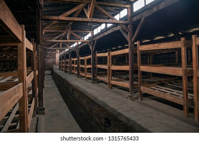 Auschwitz-Birkenau, Poland/February 10, 2019 ; Bunks of prisoners in the barracks of the concentration camp. A building with prisoners' beds. Bedroom of the concentration camp.