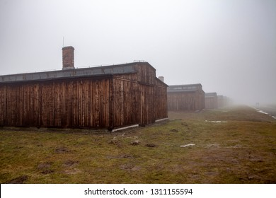 Auschwitz-Birkenau, Poland/February 10, 2019 ; Auschwitz-Birkenau concentration camp. Death barrack. Jewish extermination camp. German death camp in Oswiecim, Poland.