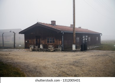 Auschwitz-Birkenau, Poland/February 10, 2019 ; Auschwitz-Birkenau concentration camp. Station building accepting transport of convicts. German death camp. Barak branch Canada.