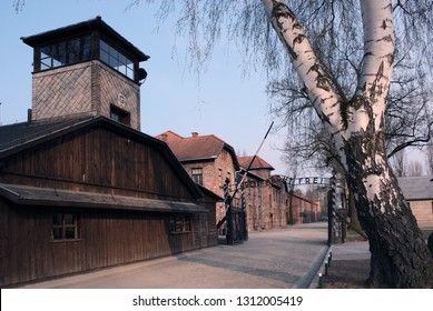 Auschwitz-Birkenau, Poland/February 10, 2019 ;The assembly square in the Auschwitz concentration camp. Buildings of the German death camp.