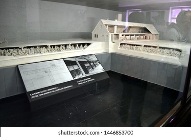 Auschwitz/Poland-June 3, 2019:  A model of the gas chambers, crematorium and furnace at Auschwitz Concentration Camp