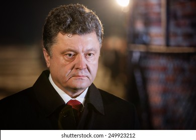 AUSHWITZ (BIRKENAU), OSWIECIM, POLAND - Jan 27, 2015: President of Ukraine Poroshenko on ceremony dedicated to 70th anniversary of the liberation of Auschwitz-Birkenau concentration camp