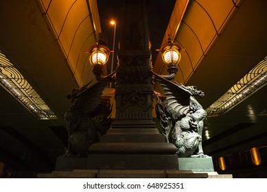 Auspicious Kirin sculptures adorn Nihonbashi bridge(Japan central), Dark and light concept