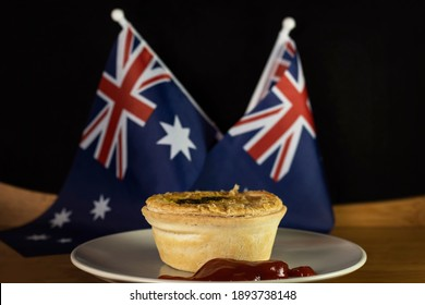 Aussie Chunky Steak Meat Pie traditionally eaten on Australia or Anzac Day.