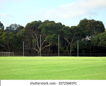 Aussie rules countryside footy oval with the four poles