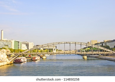 Austerlitz bridge and modern buildings in Bercy, Paris, France