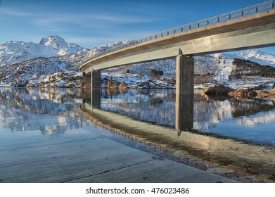 Austerstraumen Bridge on E10 road in Nordland, Norway