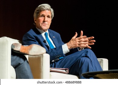 AUSTIN - APRIL 27, 2016: US Secretary of State John Kerry speaks at the Lyndon B. Johnson Presidential Library during the Vietnam War Summit. Kerry told stories about serving in the Vietnam War.