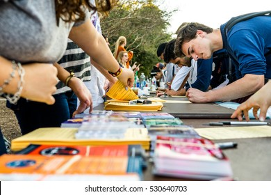 AUSTIN - CIRCA FEBRUARY 2016: Students and Austinites register to vote at a get-out-the-vote event in Austin, Texas.