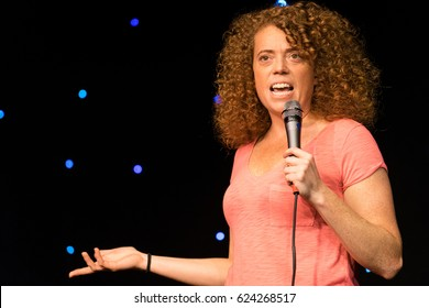 AUSTIN - CIRCA MARCH 2016: Comedian Michelle Wolf performs stand up comedy and tells jokes at a theater in downtown Austin, Texas.