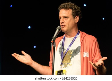 AUSTIN - CIRCA MARCH 2016: Comedian Matt Besser performs stand up comedy and tells jokes at a theater in downtown Austin, Texas.