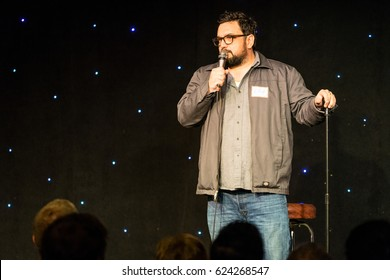 AUSTIN - CIRCA MARCH 2016: Comedian Horatio Sanz performs stand up comedy and tells jokes at a theater in downtown Austin, Texas.