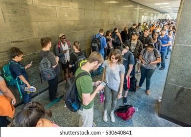 AUSTIN - CIRCA MARCH 2016: Students and Austinites wait in long lines to vote in the 2016 primary election at a polling station in central Austin, Texas.