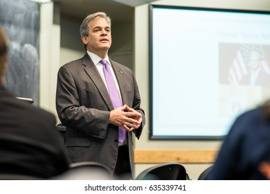 AUSTIN - CIRCA NOVEMBER 2014: Mayor Steve Adler talks about politics to a Young Democrats club at the University of Texas at Austin.
