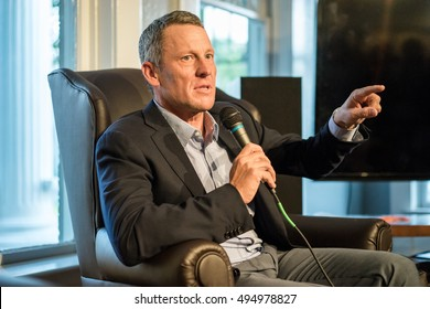 AUSTIN - CIRCA OCTOBER 2015: Former cyclist Lance Armstrong speaks at an event at the University of Texas in Austin, Texas.