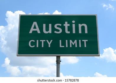 An Austin City Limit road sign close up.