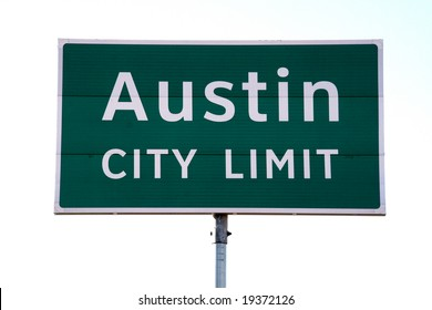 A Austin City Limit sign that you would see when going into Austin, TX.  This is a popular symbol of Austin.