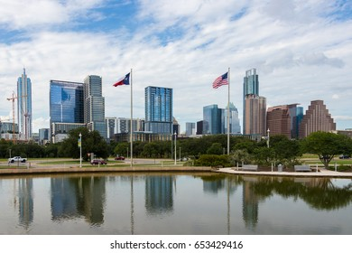the Austin downtown skyline as seen from Palmer Auditorium