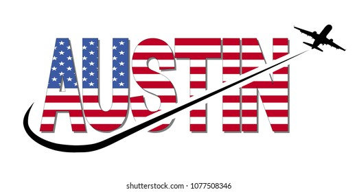 Austin flag text with plane silhouette and swoosh illustration