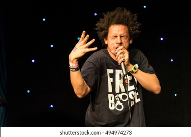 AUSTIN - MARCH 14, 2016: Comedian Eric Andre performs stand up comedy at a SXSW event in Austin, Texas.