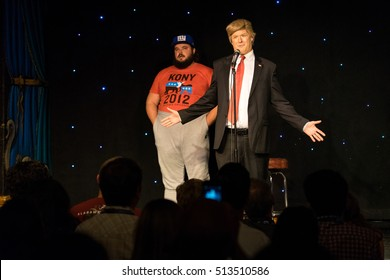 AUSTIN - MARCH 14, 2016: Comedian Anthony Atamanuik performs an impersonation of President Donald Trump at a SXSW event in Austin, Texas.