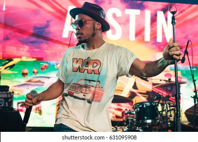 AUSTIN - MARCH 2016: Signer, songwriter, and rapper Anderson Paak performs at a concert during SXSW 2016 in Austin, Texas.