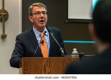 AUSTIN - MARCH 31, 2016: Secretary of Defense Ash Carter speaks at the Etter Harbin Alumni Center at The University of Texas at Austin. He covered national security and ISIL in his speech.