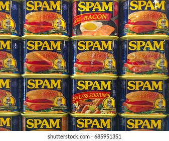 AUSTIN, MINNESOTA - JUNE 21, 2017: A display of Spam Cans at the Spam Museum. The space is dedicated to Spam, the canned precooked meat product made by the Hormel Foods Corporation.