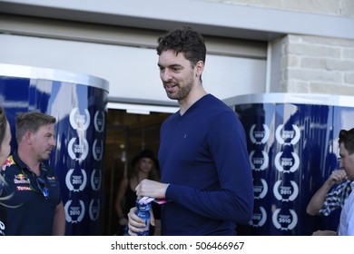 AUSTIN - OCTOBER 22:  NBA San Antonio Spurs basketball player Pau Gasol is a guest of Red Bull Racing at The Circuit of the Americas Formula 1 on October 22, 2016 in Austin, Texas.