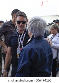AUSTIN - OCTOBER 23:  NASCAR's Jeff Gordon meets Bernie Ecclestone before the race at The Circuit of the Americas on October 23, 2016 in Austin, Texas.