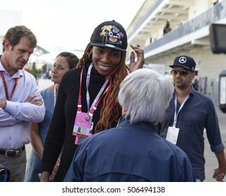 AUSTIN - OCTOBER 23:  Venus Williams meets Bernie Ecclestone before the race at The Circuit of the Americas on October 23, 2016 in Austin, Texas.