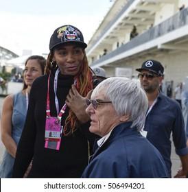 AUSTIN - OCTOBER 23:  Venus Williams and Bernie Ecclestone meet at The Circuit of the Americas on October 23, 2016 in Austin, Texas.