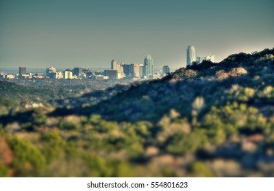 Austin skyline from hilltop