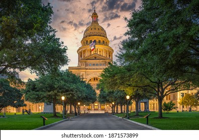 Austin State Capitol with beautiful yellow sunset