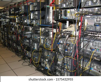 Austin, Texas - 21 February 2008: the back of an old style server room with stacks of discrete servers