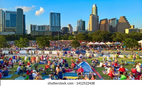 Austin, Texas - 4 July 2014: a large crowd is beginning to gather for the annual 4th of July concert by the Austin Symphony