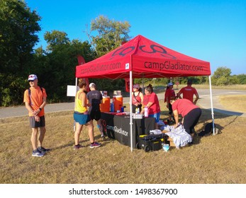 Austin, Texas - 7 September 2019: the registration tent for a run in McKinney Falls State Park