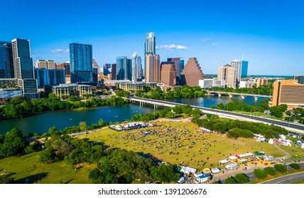 Austin Texas aerial drone view above huge crowd in the center of the hipster city sunny afternoon