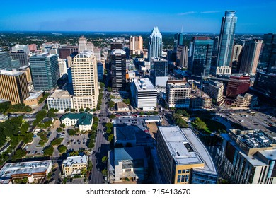 Austin Texas Aerial Drone view of New Developing Skyline Cityscape of 2017 the Capital City of TX high above the city