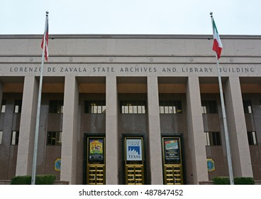 AUSTIN, TEXAS- APRIL 16, 2016: Lorenzo de zavala state archives and library building in the Austin city, Texas