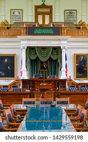 AUSTIN, Texas - April 22, 2019: Interior of the Senate chamber of the Legislature of the State of Texas inside the Texas State Capitol in Austin, Texas. The Senate consists of 31 elected members